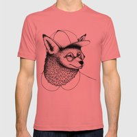Hipster Fox Mens Fitted Tee Pomegranate SMALL