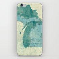 Michigan Map Blue Vintag… iPhone & iPod Skin