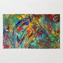 FIREWORKS IN COLOR - Bold Abstract Acrylic Painting Lovely Masculine Colorful Splash Pattern Gift Rug