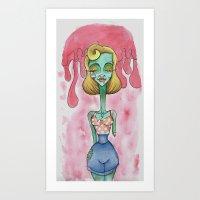Zombie Pin Up Art Print
