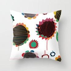 wild flower white Throw Pillow