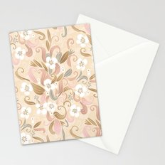 Floral curve pattern, rose gold Stationery Cards
