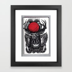 DEER & BALL OF RED YARN // BIS EXIT// Framed Art Print