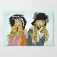 red lip twins Canvas Print