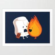 Art Print featuring Friendly Fire by Budi Kwan