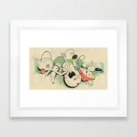 Music, tea & Cheese Framed Art Print