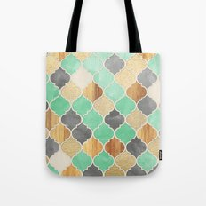 Charcoal, Mint, Wood & Gold Moroccan Pattern Tote Bag