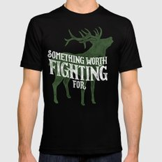 Something Worth Fighting For SMALL Mens Fitted Tee Black