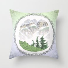 SUMMER IN THE NORTH CASCADE MOUNTAINS PEN DRAWING Throw Pillow