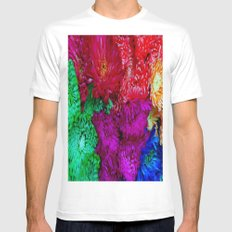 Rainbow flowers SMALL White Mens Fitted Tee