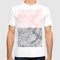 Elegant floral lace gray wood pastel pink block  Mens Fitted Tee White SMALL