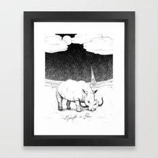 Rhino during Midnight in Paris Framed Art Print