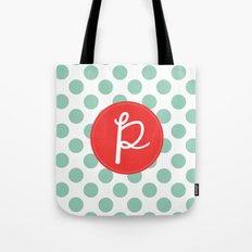 Monogram Initial P Polka Dot Tote Bag