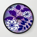 White Flowers on Navy Leaves Wall Clock