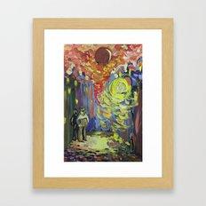 Loneliness under the street light Framed Art Print