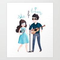 She & Him Art Print