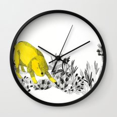 yellow dog Wall Clock