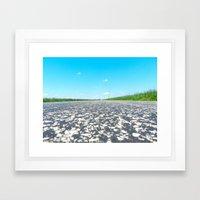 Blue Sky, Back Road Framed Art Print