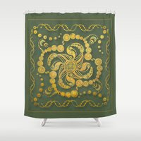 Alien Inspiration Gold and Green Abstract Shower Curtain