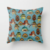 fishing with worms Throw Pillow