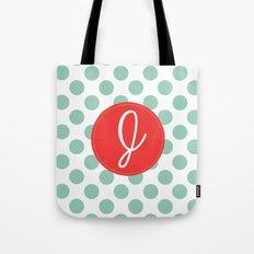 Monogram Initial J Polka Dot Tote Bag