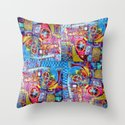 Steam Punk Music with key Board, Horns, Gears  In Blue, Pink & Yellow Abstract Throw Pillow
