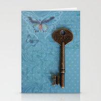 Heart Key Butterfly Stationery Cards