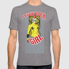 Punk rock Girl Mens Fitted Tee Tri-Grey SMALL