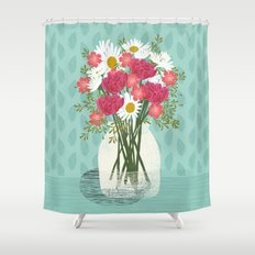 Vase of Daisies floral flowers spring summer mother's day illustration Andrea Lauren  Shower Curtain