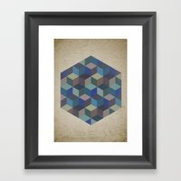 Dimension in blue Framed Art Print