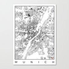 Munich Map Schwarzplan Only Buildings Canvas Print