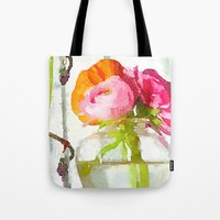 Pink and Orange Ranunculus Flower Bouquet Still Life Water Color from photo fine art print Tote Bag