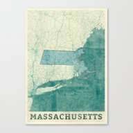 Massachusetts Map Blue V… Canvas Print