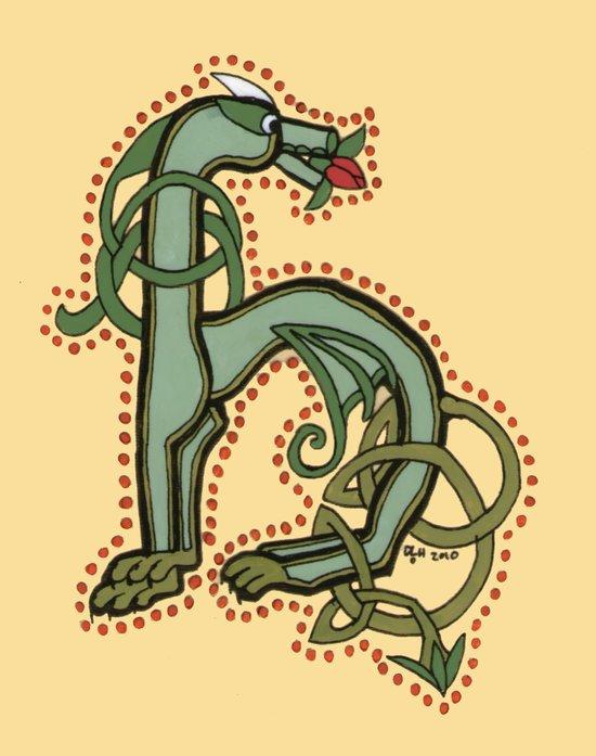 Celtic Dragon Letter H Canvas Print