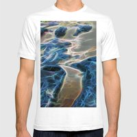 Abstract rock pool and sand on a beach in Queensland Mens Fitted Tee White SMALL