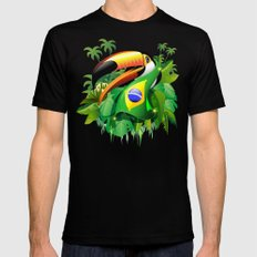 Toco Toucan with Brazil Flag Mens Fitted Tee Black SMALL