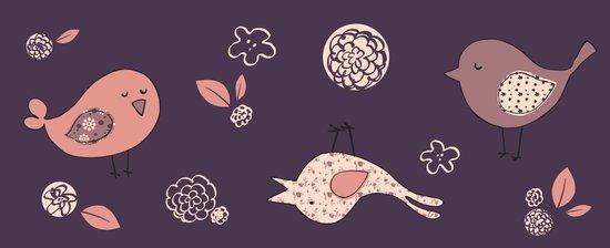 Birdies on purple Art Print
