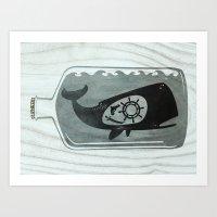 Whale In A Bottle | Ship… Art Print
