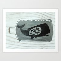 Whale In A Bottle | Ship… Art Print