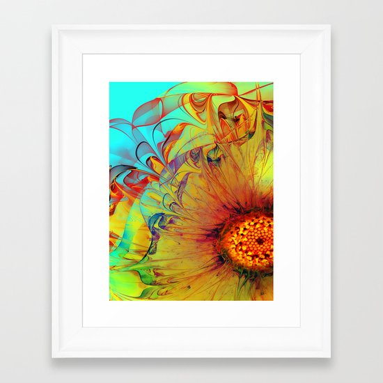 Sunflower Abstract Framed Art Print