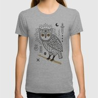 Hypno Owl Womens Fitted Tee Athletic Grey SMALL