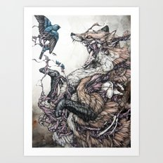 Red Fox And Indigo Bunti… Art Print