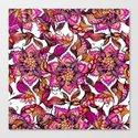 Bright watercolor floral mandala henna hand drawn pattern Canvas Print