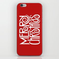 Merry Christmas Text White iPhone & iPod Skin