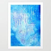 Infinitely Blue Squared Art Print