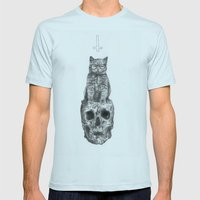 The Cat, The Skull, The Cross Mens Fitted Tee Light Blue SMALL