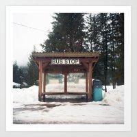 Slocan City Bus Stop Art Print