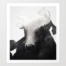 Minotaur (Black & White) Art Print