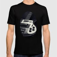Rickenbacker Bass [B&W] Mens Fitted Tee Black SMALL