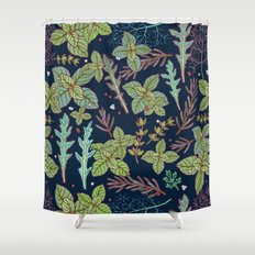 dark herbs pattern Shower Curtain
